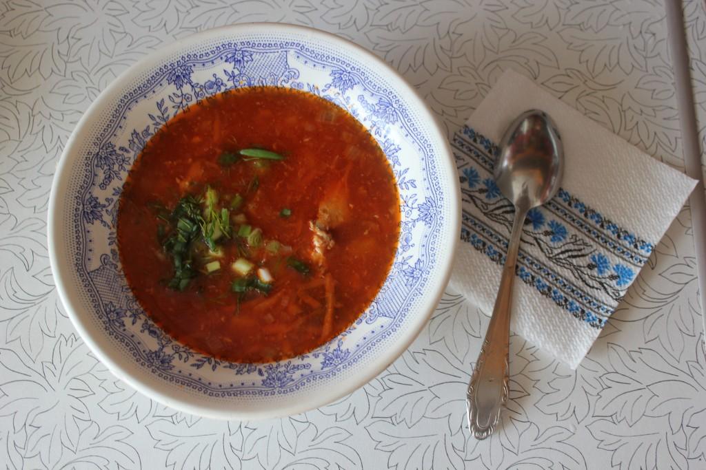 Суп с креветками и консервированной горбушей